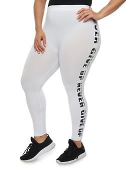 Plus Size Never Give Up Graphic Leggings - 1965061630002