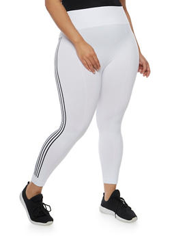Plus Size Athletic Leggings with Striped Sides - 1965061630004