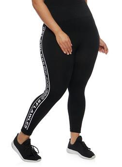 Plus Size Flawless Graphic Leggings - BLACK - 1965061630005