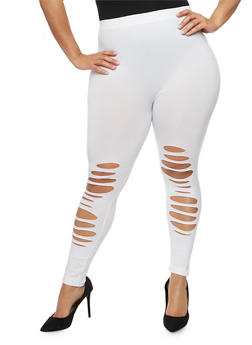 Plus Size Slashed Front Leggings - 1965061635918