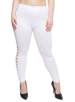 Plus Size Slashed Leggings - 1965061639181