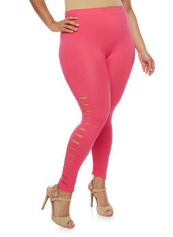 Plus Size Slashed Leggings - 1965061639181