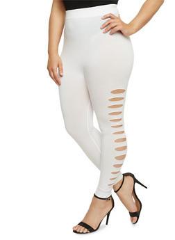 Plus Size Lasercut Side Leggings - WHITE - 1965062906520