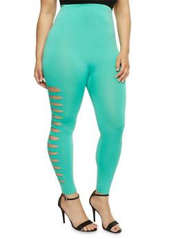 Plus Size Lasercut Side Leggings - 1965062906520
