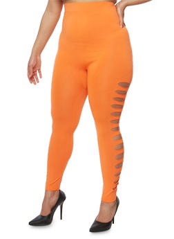 Plus Size Lasercut Side Leggings - 1965062906520