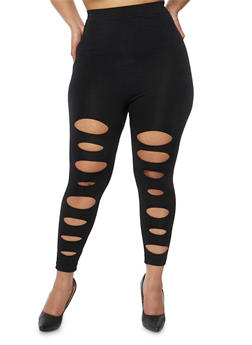 Plus Size Lasercut Front Leggings - 1965062906533
