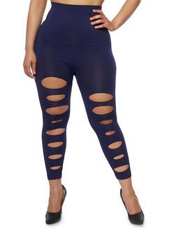 Plus Size Lasercut Front Leggings - 1965062906533