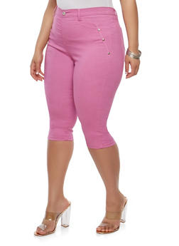Plus Size High Waisted Stretch Capri Pants - 1965063405244