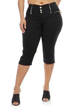 Plus Size Black Stretch Capri Pants - 1965063405245