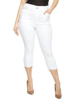 Plus Size 5 Pocket Cropped Jeggings - WHITE - 1965072716125