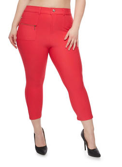 Plus Size Cropped Jeggings with Zip Pockets - 1965072716943