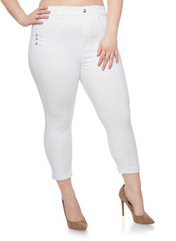 Plus Size Cropped High Waisted Jeans with Rhinestone Studs - WHITE - 1965072719802