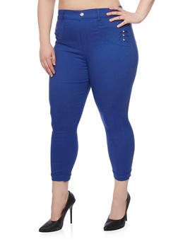Plus Size Cropped High Waisted Jeans with Rhinestone Studs - 1965072719802