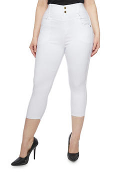 Plus Size High Waisted Cropped Jeggings - WHITE - 1965072719806