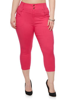 Plus Size High Waisted Cropped Jeggings - 1965072719806