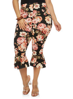 Plus Size Flared Hem Capri Pants - 1965074010812