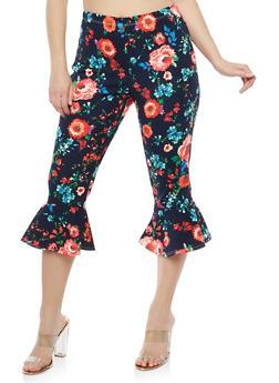 Plus Size Flared Hem Capri Pants - NAVY-RED - 1965074010812