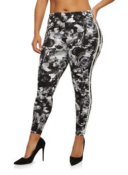 Plus Size Printed Side Stripe Leggings - 1969001440017