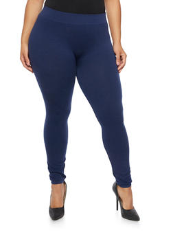 Plus Size Solid Leggings - 1969001440050