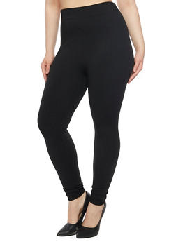 Plus Size Solid Leggings in Fleece - 1969001440084