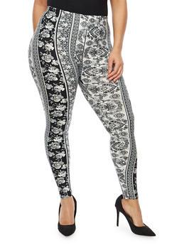 Plus Size Soft Knit Border Print Leggings - 1969001440134