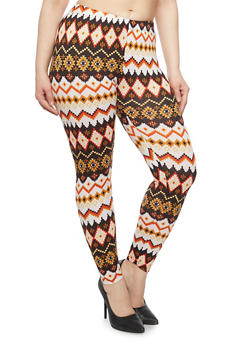 Plus Size Aztec Print Leggings - 1969001440140