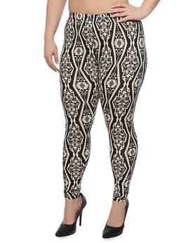Plus Size Printed Leggings in Brushed Knit - 1969001440142