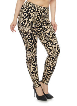 Plus Size Tribal Print Leggings - 1969001440143