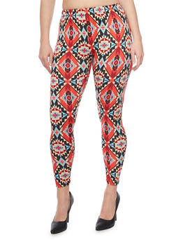 Plus Size Aztec Print Leggings - 1969001440165