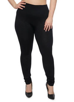 Plus Size Embossed Leggings with Fleece Lining - 1969001440260