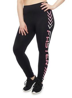 Plus Size Graphic Athletic Leggings - 1969001440269
