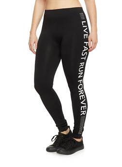 Plus Size Live Fast Run Forever Athletic Leggings - 1969001440276