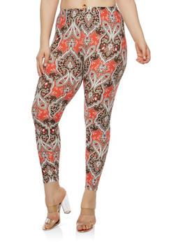 Plus Size Soft Knit Paisley Print Leggings - 1969001440315