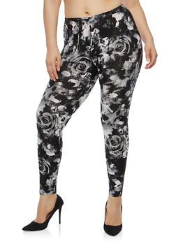 Plus Size Floral Soft Knit Leggings - 1969001440318