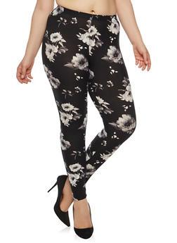 Plus Size Floral Leggings - 1969001440323