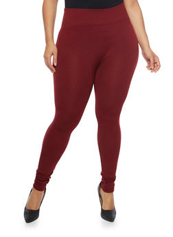 Plus Size Leggings with Fleece Lining - 1969001440621
