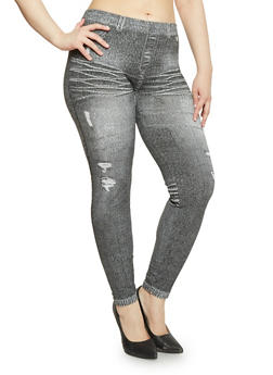 Plus Size Denim Printed Leggings - 1969001440738