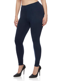 Plus Size Solid Soft Knit Leggings - 1969001441001