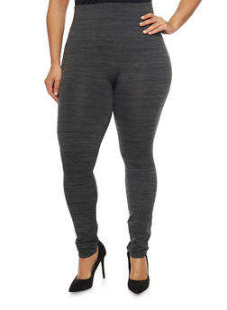 Plus Size Fleece Space Dye Leggings - 1969001441066