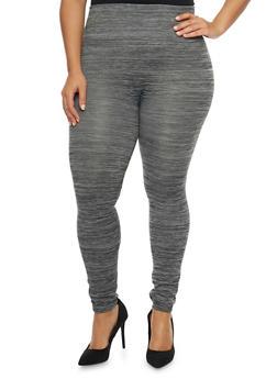 Plus Size Fleece Space Dye Leggings - 1969001441066