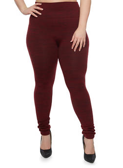 Plus Size Fleece Space Dye Leggings - BURGUNDY - 1969001441066