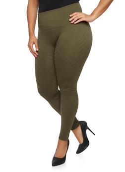 Plus Size Fleece Leggings with Chevron Print - 1969001441163