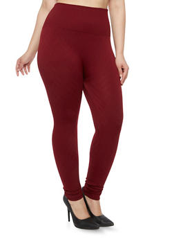 Plus Size Fleece Leggings with Chevron Print - 1969001441163
