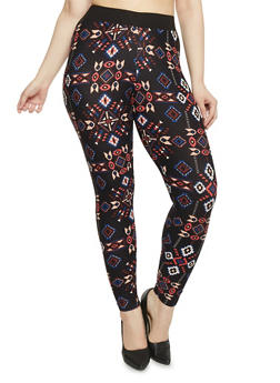 Plus Size Abstract Printed Leggings - 1969001441165