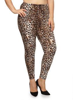 Plus Size Leopard Print Leggings - 1969001441242
