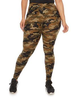 Plus Size Soft Knit Camouflage Leggings - 1969001441249