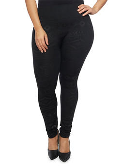 Plus Size Fleece Leggings in Aztec Print - 1969001441260