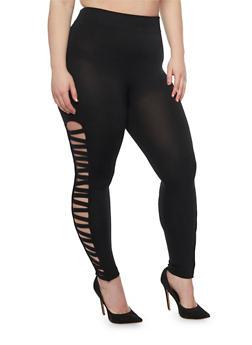 Plus Size Leggings with Lattice Sides - 1969001441282