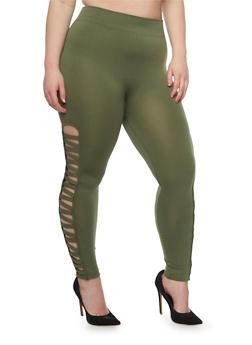 Plus Size Leggings with Lattice Sides - OLIVE - 1969001441282