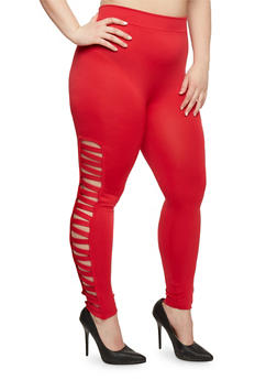 Plus Size Leggings with Lattice Sides - 1969001441282